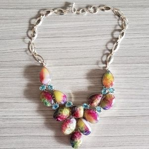 Artisan Rainbow Agate Geode Bib Necklace